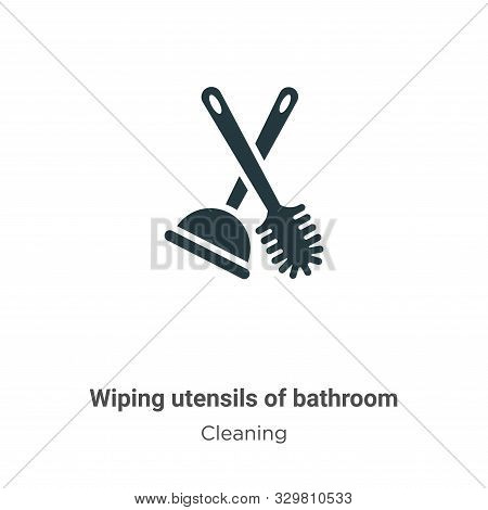 Wiping utensils of bathroom icon isolated on white background from cleaning collection. Wiping utens