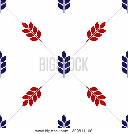 Blue And Red Cereals Set With Rice, Wheat, Corn, Oats, Rye, Barley Icon Isolated Seamless Pattern On