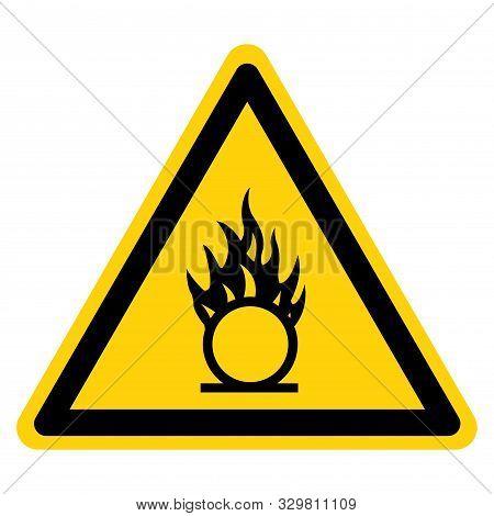 Warning Oxidizer Hazard Symbol Sign, Vector Illustration, Isolate On White Background, Label .eps10