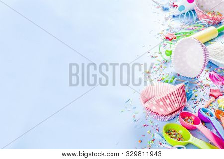 Sweet Baking Concept For Birthday Holiday Party, Cooking Background With Baking Stuff - Rolling Pin,