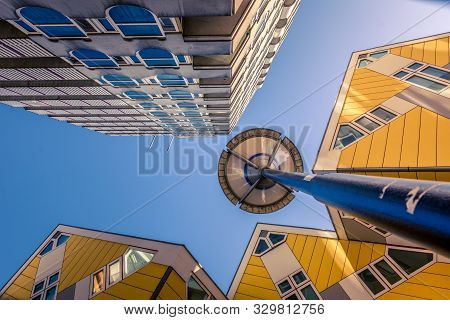 Rotterdam, Netherlands, September 2019: Low Angle View Of The Cube Houses (kubuswoningen) And Blaakt