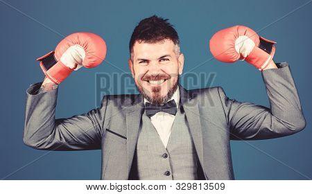 Criminal Defense Lawyer Planning Out Strategies. Businessman Wear Boxing Gloves. Best Criminal Defen