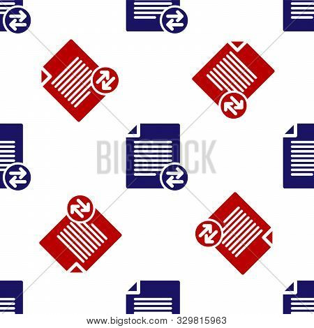 Blue And Red Transfer Files Icon Isolated Seamless Pattern On White Background. Copy Files, Data Exc