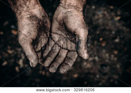 Hands Beggar, Homeless Palm Raised Up. Concept Asking For Alms