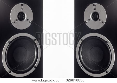 Two Hifi Black Loud Speaker Box In Close Up.professional Audio Equipment - Image