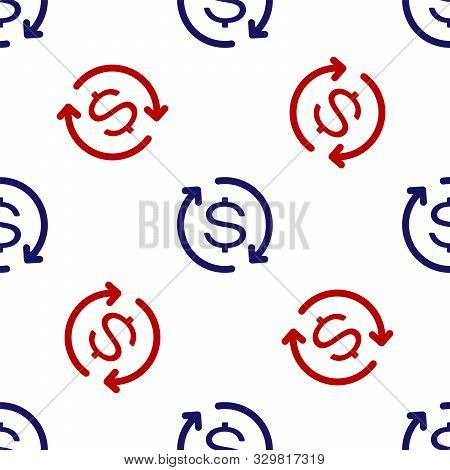 Blue And Red Return Of Investment Icon Isolated Seamless Pattern On White Background. Money Convert