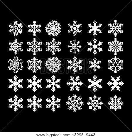 A Collection Of Isolated Winter Snowflake Icons With A Black Background. Snowflake Icon For Christma