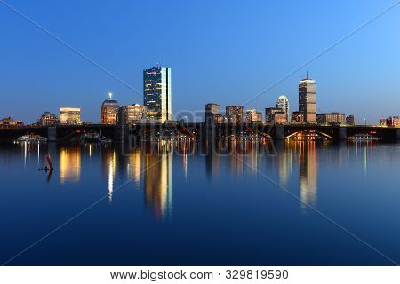 Boston Back Bay Skyline John Hancock Tower And Prudential Center Night Scenes, Viewed From Cambridge