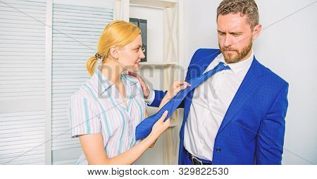 Female Take Sexual Initiative. Office And Sexual Behavior. Woman Hold Mans Necktie. Girl Seduce Coll