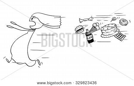 Vector Cartoon Stick Figure Drawing Conceptual Illustration Of Obese And Fat Woman Running Away Chas