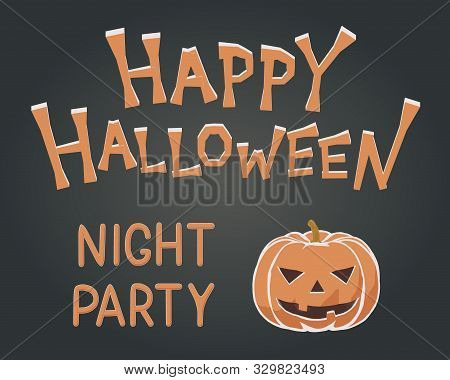 Toon Flat Vector Illustration Of Spooky Happy Halloween Mascot. Kids Style For Night Party With Fun