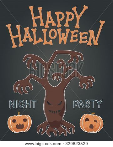 Toon Flat Vector Illustration Of Plants For Happy Halloween. Drawing Style For Night Party With Spoo