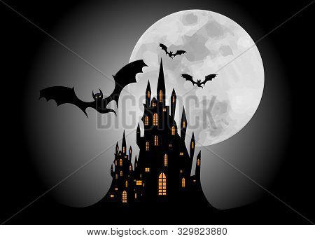 Mystic Vector Illustration, Dark Red Background On A Spooky Full Moon Background With Silhouettes Of