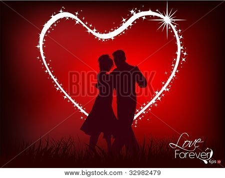 Beautiful valentines day flyer or background design or poster with dancing couple silhouette on shiny heart shape love background. EPS 10, Vector illustration.