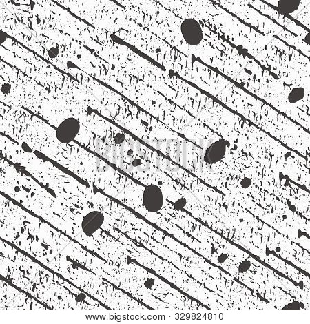 Abstract Black Scratched Diagonal Lines, Specks And Paint Spatter. Seamless Vector Pattern On White