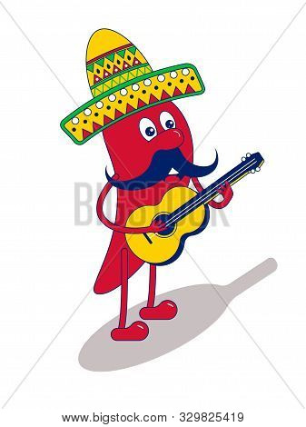 Mexican Mariachi Chilli Pepper With Yellow Guitar, Food Character