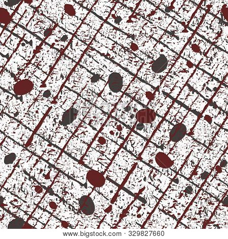 Gritty Black And Red Scratched Grunge Grid With Random Specks And Spatter Marks. Seamless Vector Pat