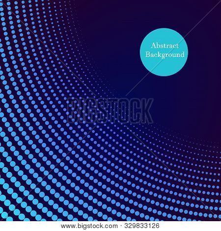Neon Halftone Abstract Flyer Design, Vector Illustration. Glowing Futuristic Pattern, Black Cover, D