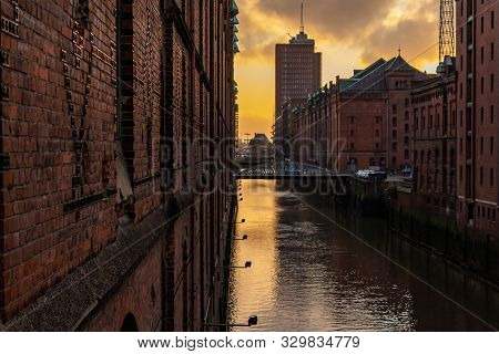 The Brick Architecture Of The Old Buildings With A Water Channel. Speicherstadt, Hamburg, Germany.