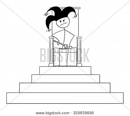 Cartoon Stick Figure Drawing Conceptual Illustration Of Jester Or Fool Sitting On Throne Of King. Co
