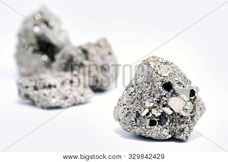 Iron Pyrite Nugget Or Iron Expert, Raw Silver Metal. Brazilian Nugget. Esoteric Stone Concept, Stone