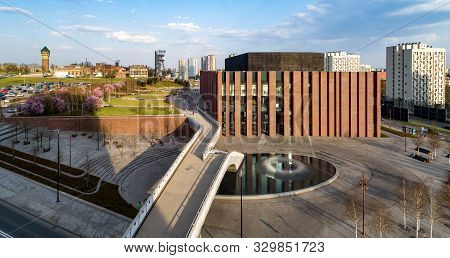 Poland, Katowice City Center Panorama With Concert Hall Of National Symphonic Orchestra Of Polish Ra