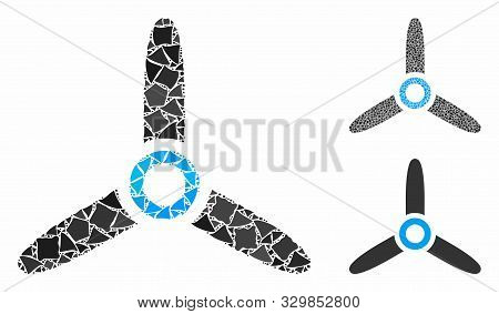 Rotor Mosaic Of Tremulant Items In Various Sizes And Color Tinges, Based On Rotor Icon. Vector Tremu