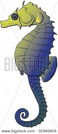 Gold & Purple Vector Seahorse