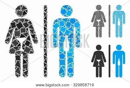 Wc Persons Mosaic Of Inequal Parts In Variable Sizes And Color Hues, Based On Wc Persons Icon. Vecto