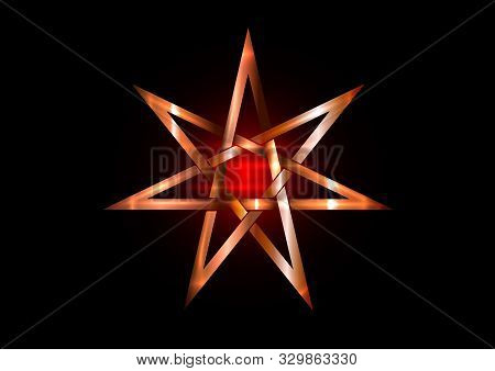 Seven Point Star Or Septagram, Known As Heptagram. Metal Bronze Elven Or Fairy Star, Magical Or Wicc