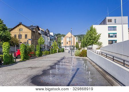 Boppard, Germany - August 04, 2019: Fountains At The Burgermeister-syree-platz Square In Boppard, Ge
