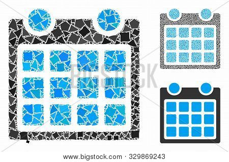 Calendar mosaic of joggly pieces in various sizes and shades, based on calendar icon. Vector irregular pieces are organized into mosaic. Calendar icons collage with dotted pattern. poster