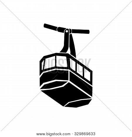poster of Ski cable lift icon for ski and winter sports. Design for tourist catalog, maps of the ski slopes, placard, brochure, flyer, booklet,gondola,  transportation 'gondola  logo symbol design