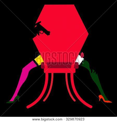 Illustration Of A Burlesque Dancer On A Chair