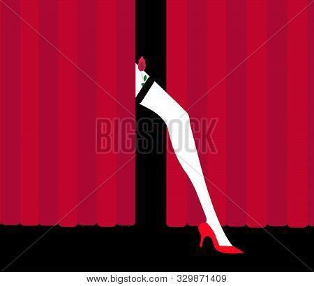 Illustration Of A Cabaret Dancer With Red Rose