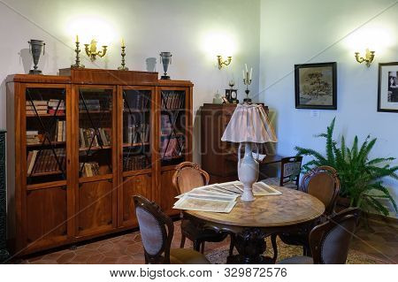 Mir, Belarus -  23-october-2019: Office Room And Library At Exposition In Mir Castle. Mir, Grodno Re