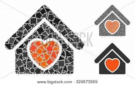 Hospice Mosaic Of Ragged Parts In Different Sizes And Color Hues, Based On Hospice Icon. Vector Ragg
