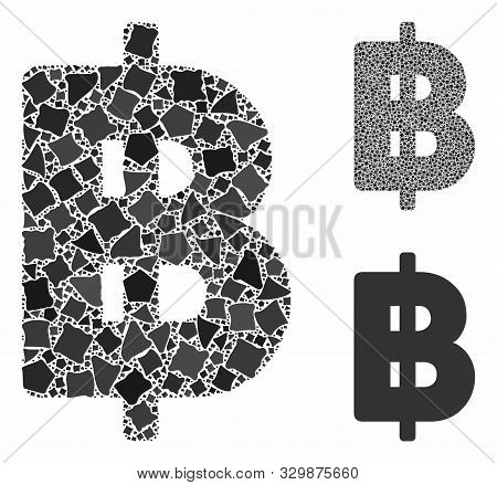 Thai Baht Mosaic Of Uneven Items In Variable Sizes And Shades, Based On Thai Baht Icon. Vector Raggy