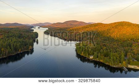 Fall Color Is More Saturated At Sunset Near Long Lake Adirondack Park Mountains