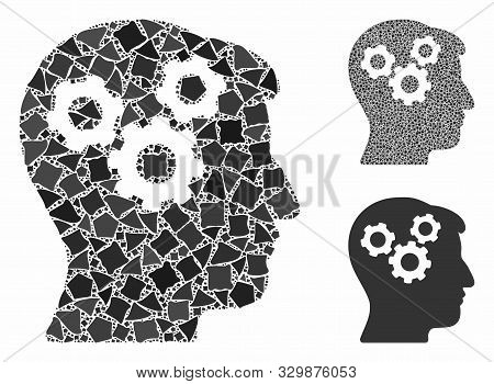 Mind Gears Mosaic Of Humpy Parts In Various Sizes And Shades, Based On Mind Gears Icon. Vector Ragge