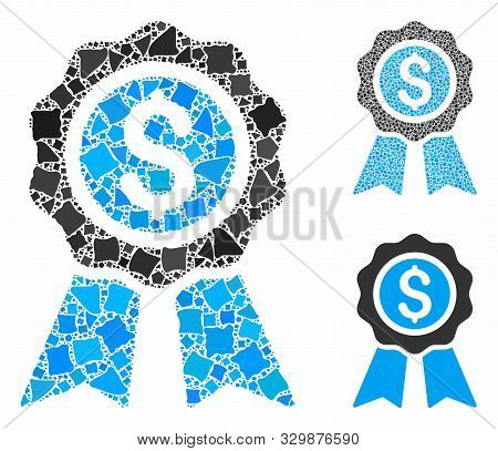 Business award composition of joggly pieces in various sizes and color tints, based on business award icon. Vector joggly items are combined into composition. poster