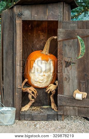 Grumpy Pumpkin Sitting In An Old Outhouse