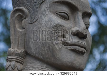 Siem Reap, Cambodia - January 23, 2011: Mythological Statue In The Angkor Wat Archaeological Park