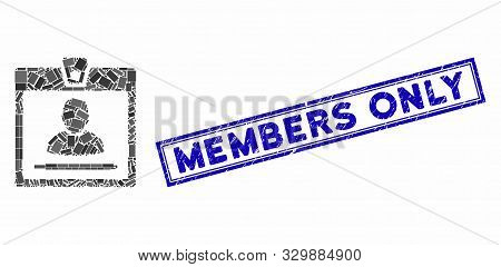 Mosaic Access Badge And Grunge Stamp Seal With Members Only Phrase. Mosaic Vector Access Badge Is Fo