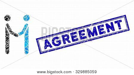 Mosaic Agreement And Corroded Stamp Seal With Agreement Caption. Mosaic Vector Agreement Is Created