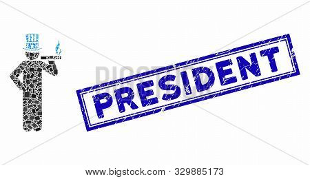 Mosaic American Capitalist And Corroded Stamp Watermark With President Text. Mosaic Vector American