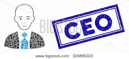 Mosaic Bald Boss And Corroded Stamp Seal With Ceo Phrase. Mosaic Vector Bald Boss Is Composed With R
