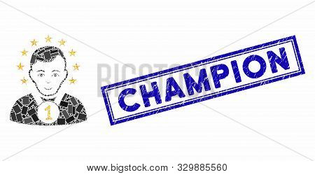 Mosaic Champion And Rubber Stamp Watermark With Champion Caption. Mosaic Vector Champion Is Formed W