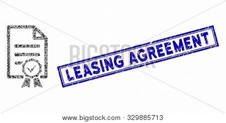 Mosaic Contract Document And Grunge Stamp Seal With Leasing Agreement Caption. Mosaic Vector Contrac