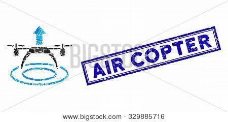 Mosaic Copter Start And Rubber Stamp Seal With Air Copter Text. Mosaic Vector Copter Start Is Design
